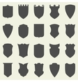 Set of blank empty dark shields shield badge vector