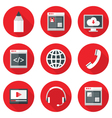 Website icons set over red with shadows vector
