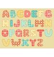 Vintage quilt alphabet vector