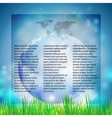 Blue abstract background of globe with grass vector