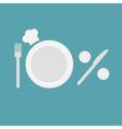 Plate fork knife salt and pepper shaker chefs hat vector