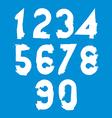Stylish brush digits handwritten numerals white vector