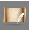 Ancient scroll paper with feather vector