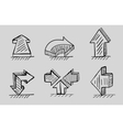 Hand drawn 3d arrows black icon set vector