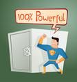 Superhero guarding a deposit box vector