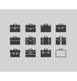 Black briefcase icons set background vector