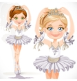 Beautiful little ballerina girl in white dress and vector