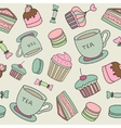 Hand drawn cakes sweets macaroons tea cup seamless vector