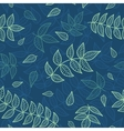 Blue and green leaves seamless pattern vector