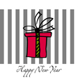 Happy new year postcard with present box vector