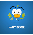 Happy easter blue background with abstract chicken vector