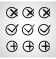 Yes or no validation button icons vector