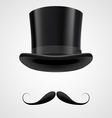 Moustaches and stovepipe hat victorian gentleman vector
