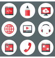 Website white and red icons set vector
