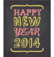 Happy new year chalkboard style greeting card vector