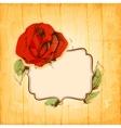 Rose frame over vintage wood texture background vector