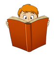 Cartoon boy reading big book vector