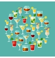 Alcohol drinks and cocktails for menu or wine list vector
