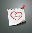 Red heart paper note love message vector