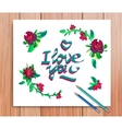 Hand drawn i love you card typography and vector