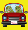 Just married couple of cactus driving a red car vector