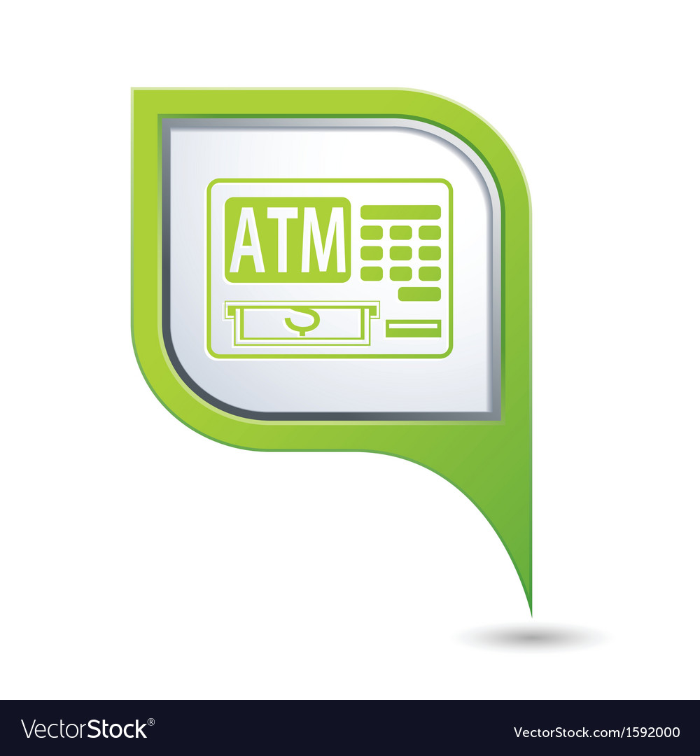 Atm icon on green map pointer vector | Price: 1 Credit (USD $1)