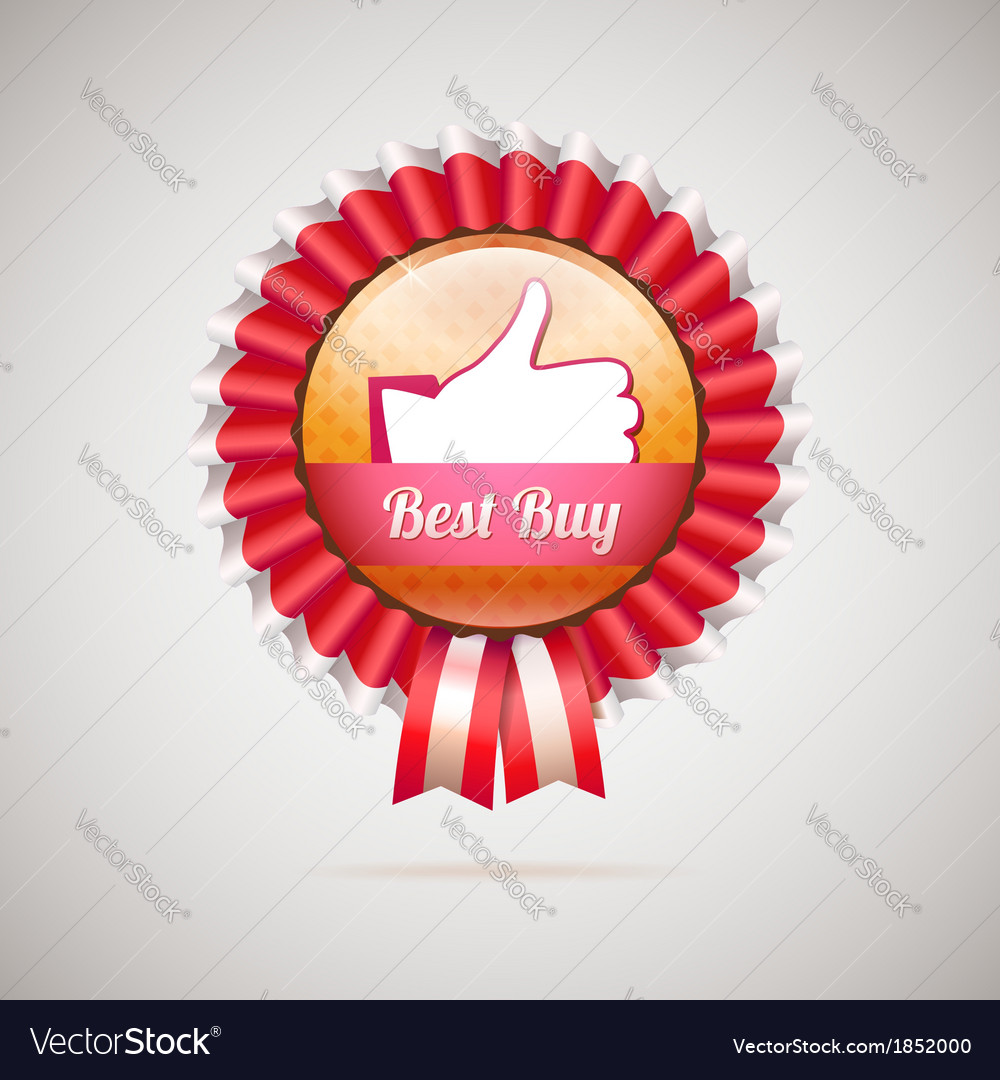 Best buy label with ribbons vector | Price: 1 Credit (USD $1)