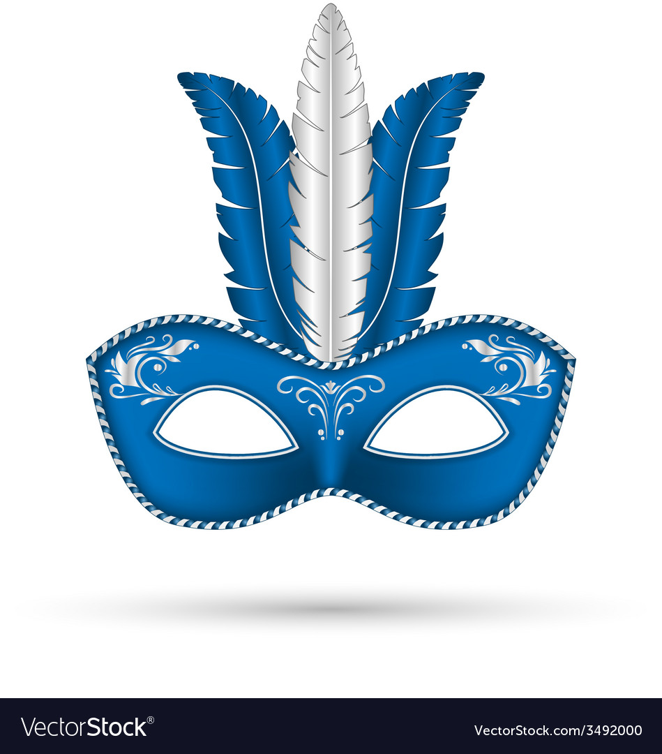 Blue mask with feathers vector | Price: 1 Credit (USD $1)