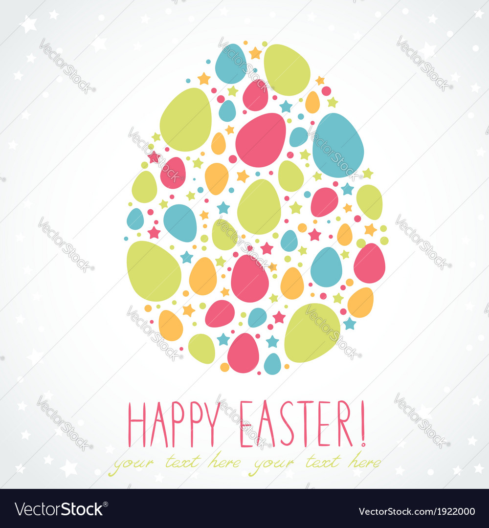 Easter egg stylized cute greeting card vector   Price: 1 Credit (USD $1)