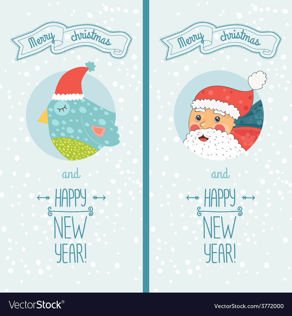 Happy new year card with santa and bird vector | Price: 1 Credit (USD $1)