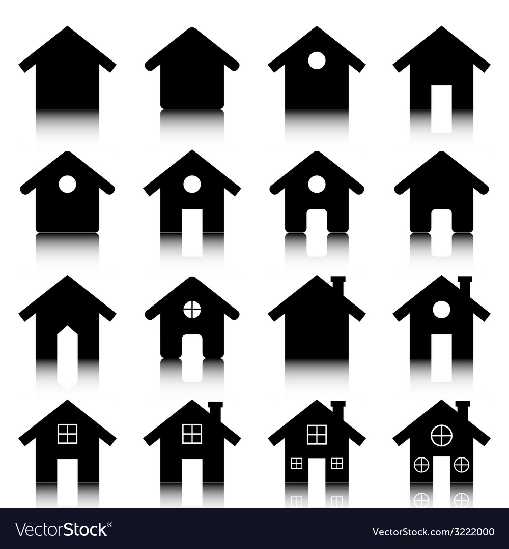 House icon set with reflection vector | Price: 1 Credit (USD $1)