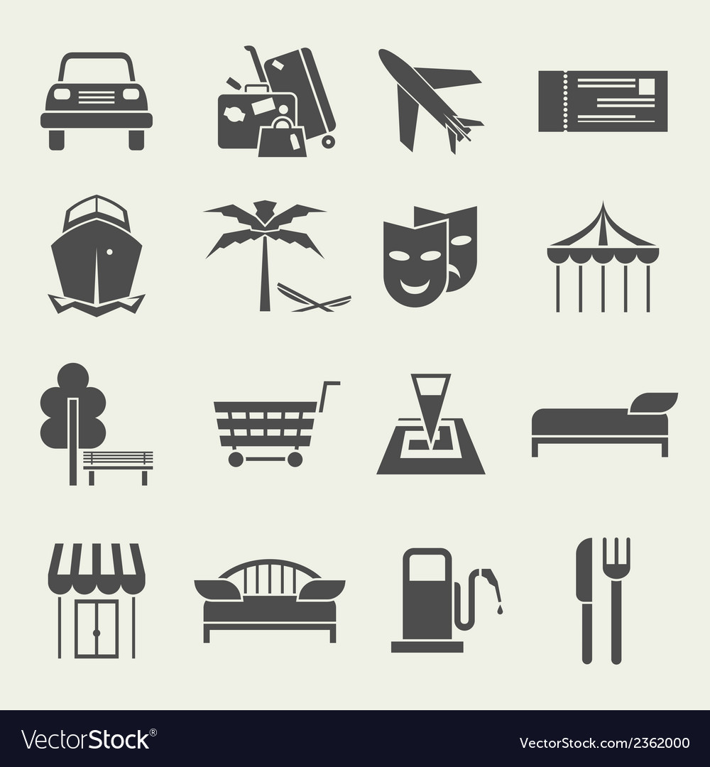 Icons vacation and travel in a flat style vector | Price: 1 Credit (USD $1)