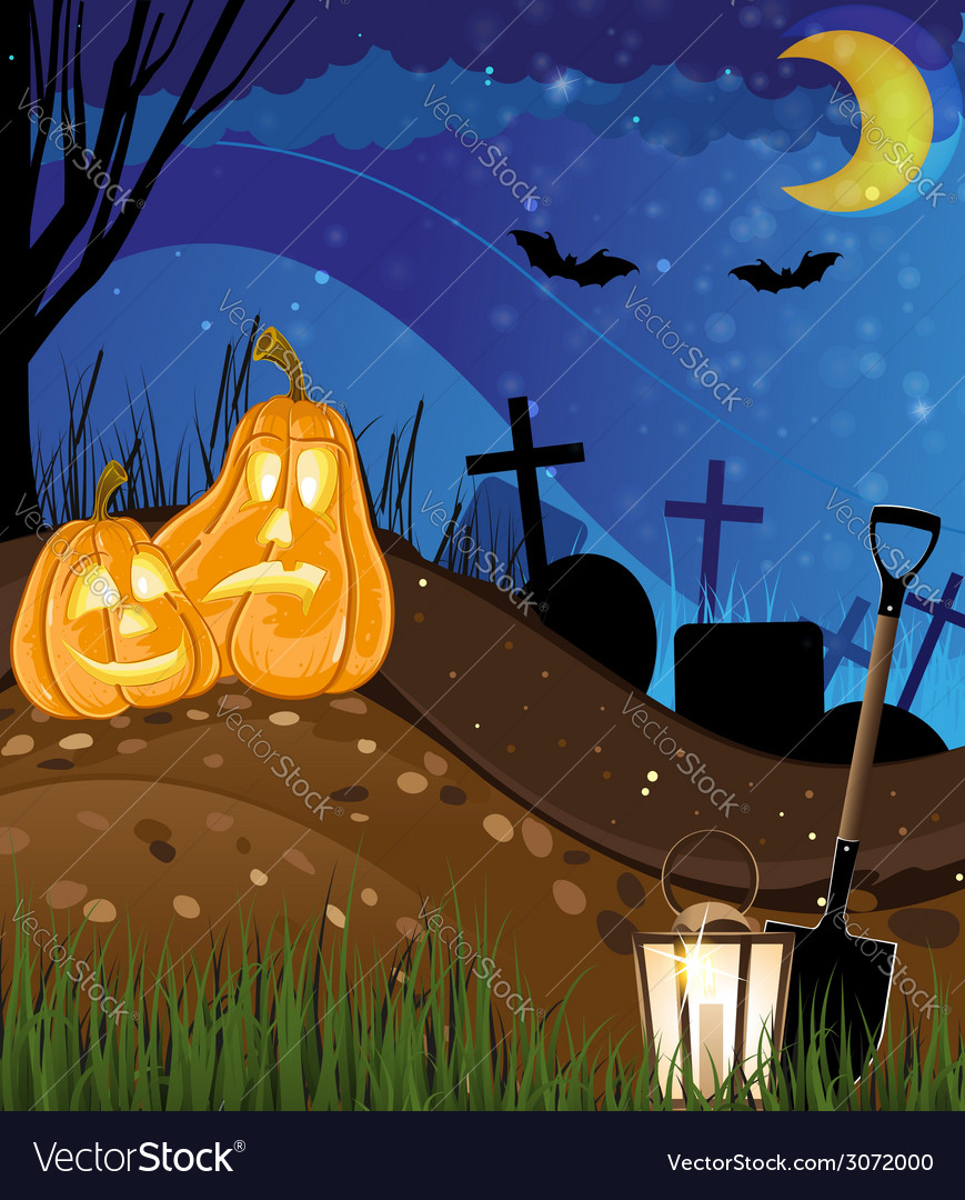 Jack o lanterns on a cemetery vector | Price: 3 Credit (USD $3)
