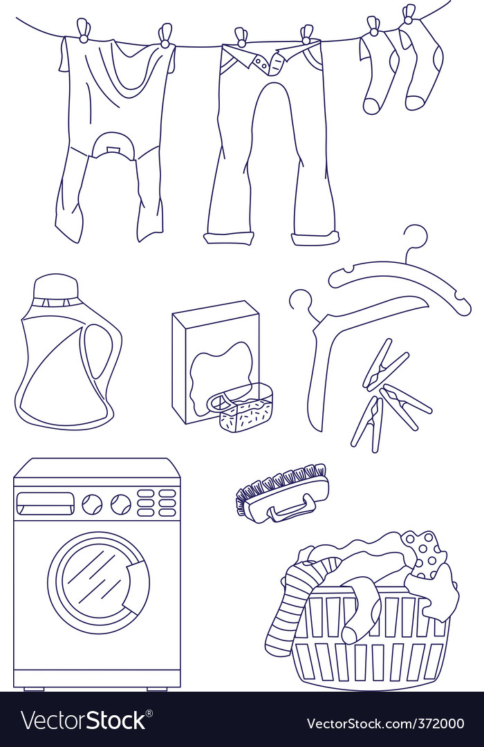 Laundry related icon set vector | Price: 1 Credit (USD $1)