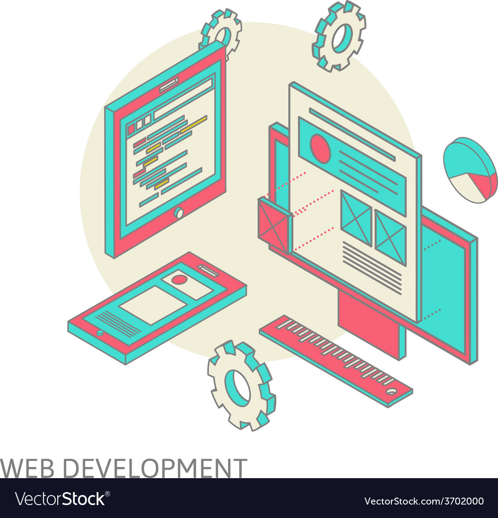 Mobile and desktop website design development vector | Price: 1 Credit (USD $1)