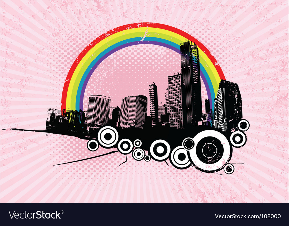 Retro city with rainbow vector | Price: 1 Credit (USD $1)