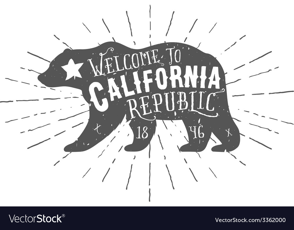 Vintage california republic bear with sunbursts vector | Price: 1 Credit (USD $1)