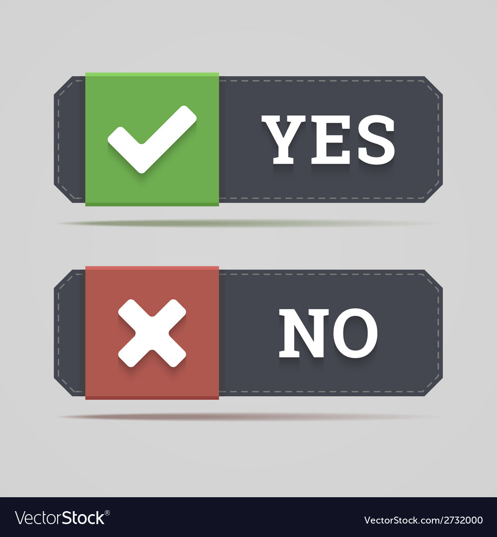 Yes and no button with check and cross icons vector | Price: 1 Credit (USD $1)
