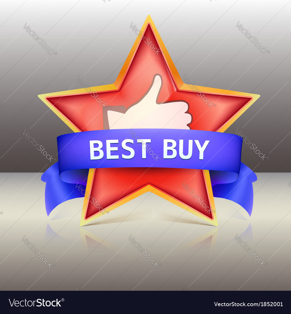 Best buy label with red star and ribbons vector | Price: 1 Credit (USD $1)