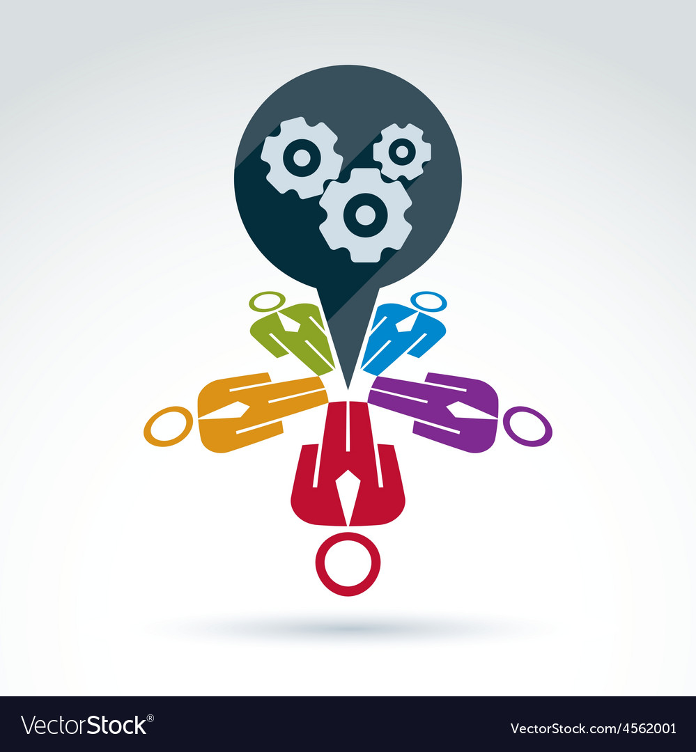 Colorful of gears business strategy concept vector | Price: 1 Credit (USD $1)