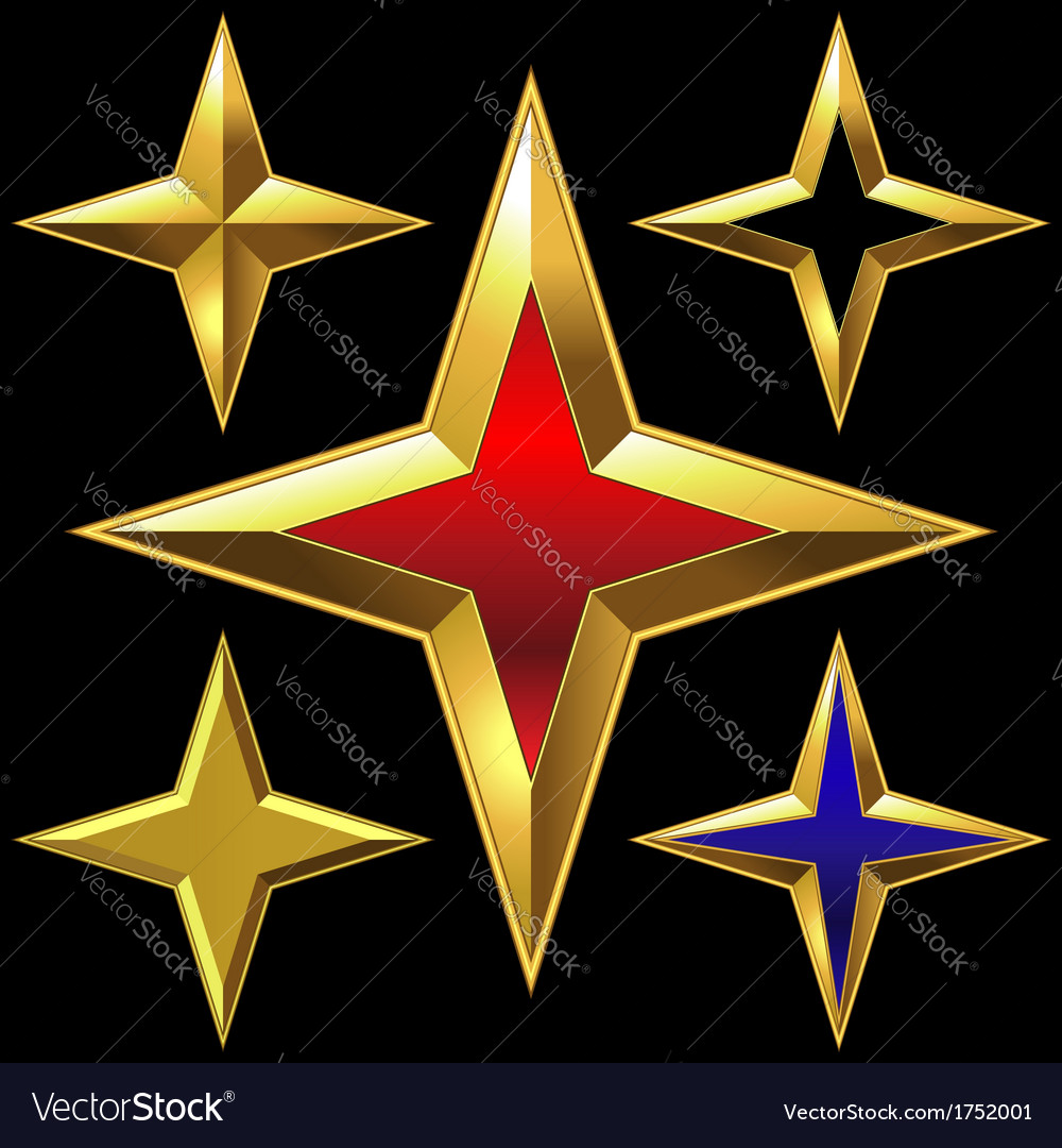Four-point golden star vector | Price: 1 Credit (USD $1)