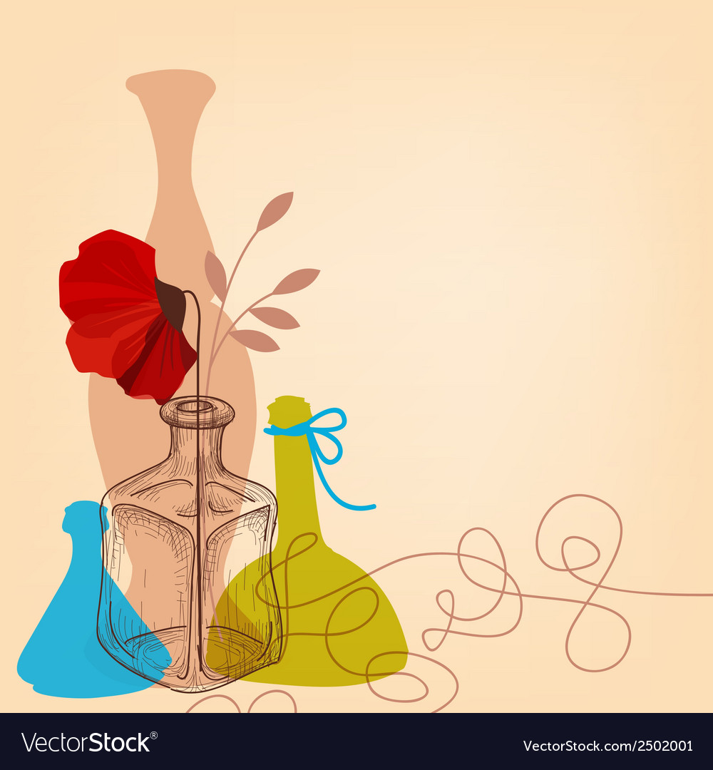 Lifestyle with flower vases and bottles vector | Price: 1 Credit (USD $1)