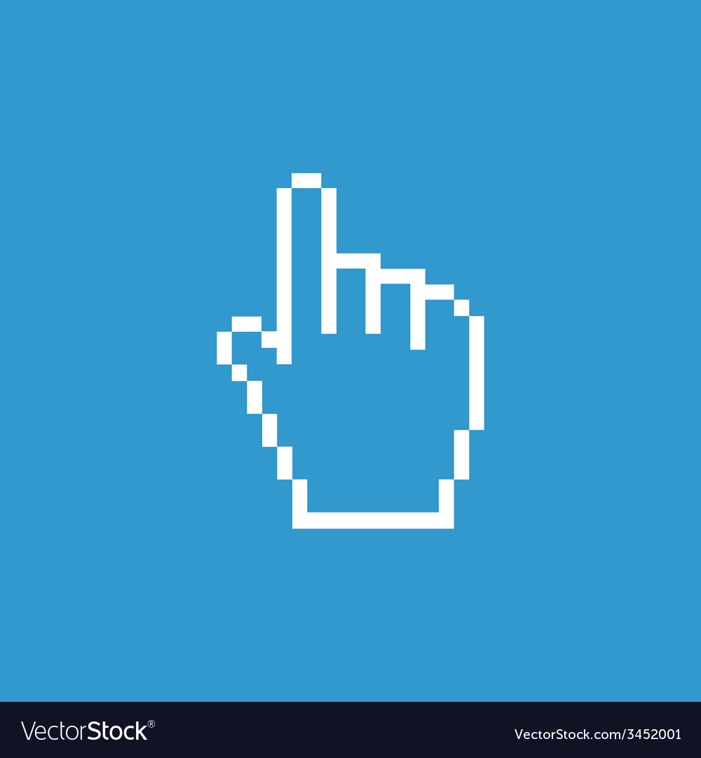 Pointer pixel cursor icon white on the blue vector | Price: 1 Credit (USD $1)