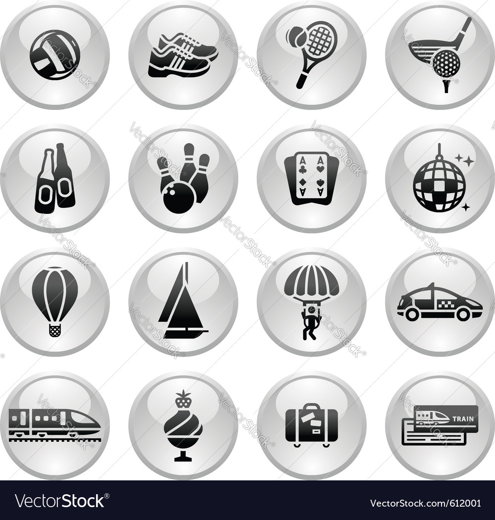 Recreation vacation  travel icons set vector | Price: 1 Credit (USD $1)