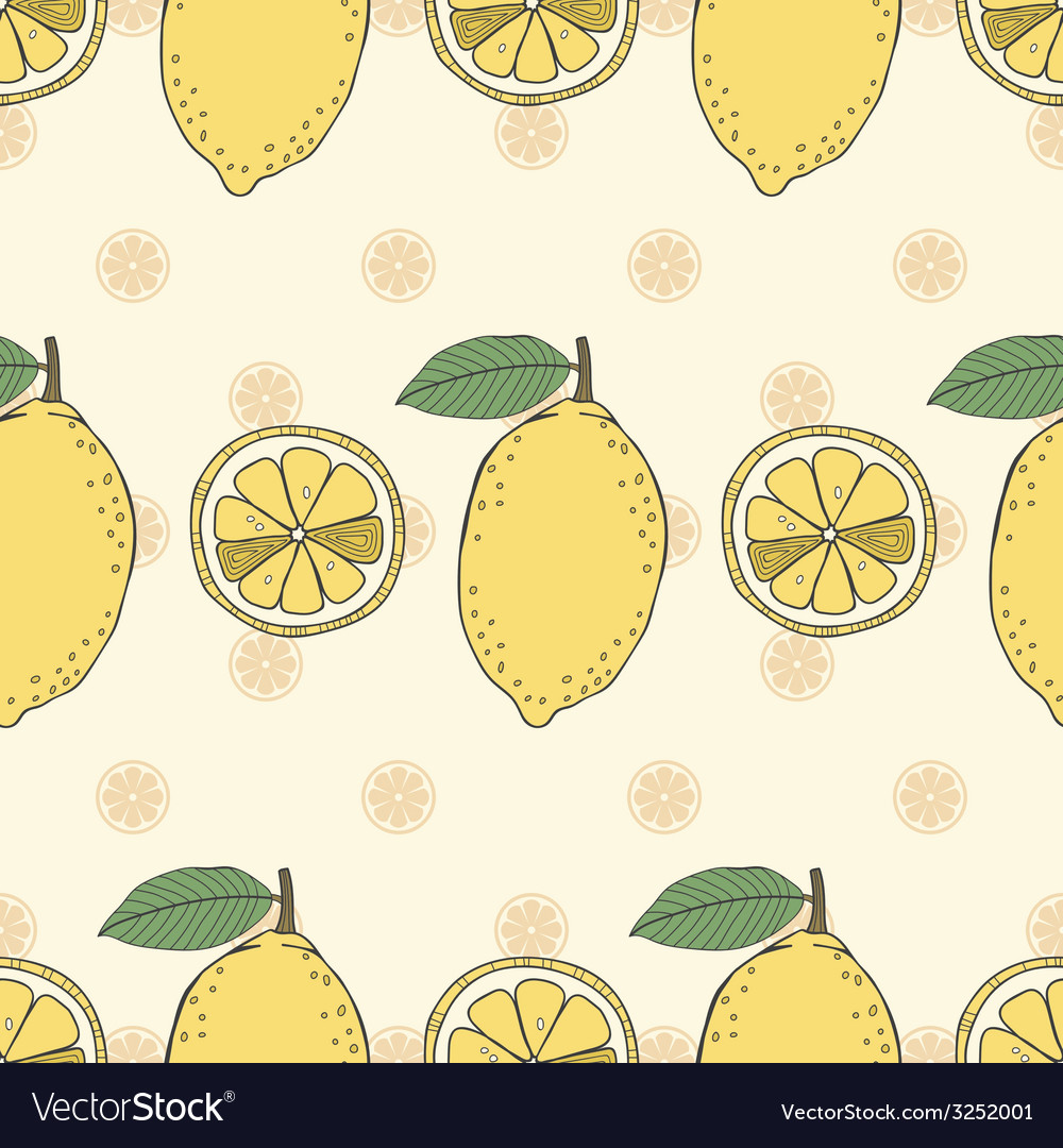 Seamless fruit pattern of lemons vector | Price: 1 Credit (USD $1)