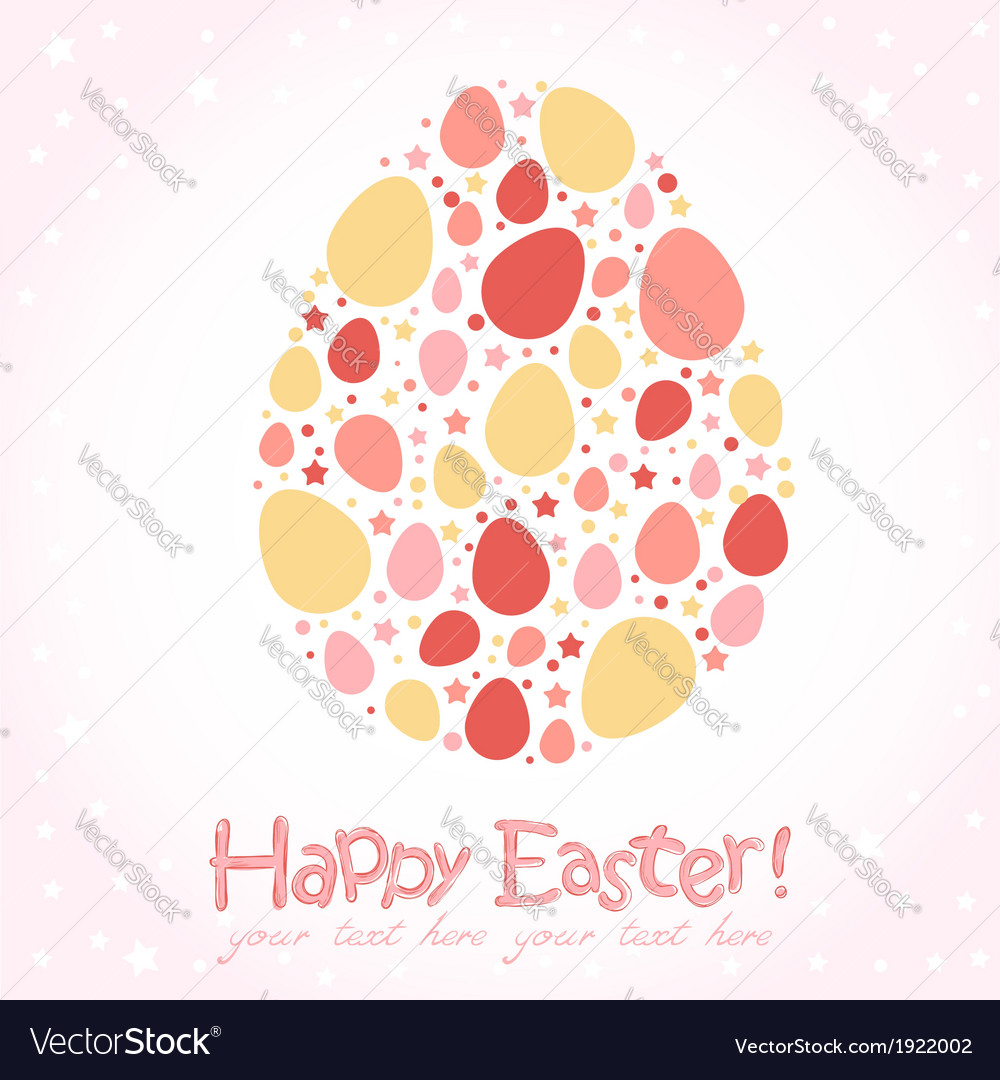 Easter egg stylized cute greeting card vector | Price: 1 Credit (USD $1)