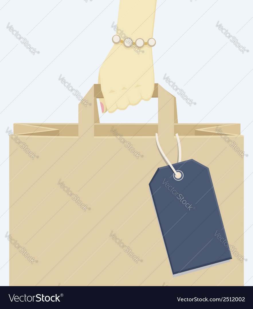 Female hand carrying a shopping paper bag vector | Price: 1 Credit (USD $1)