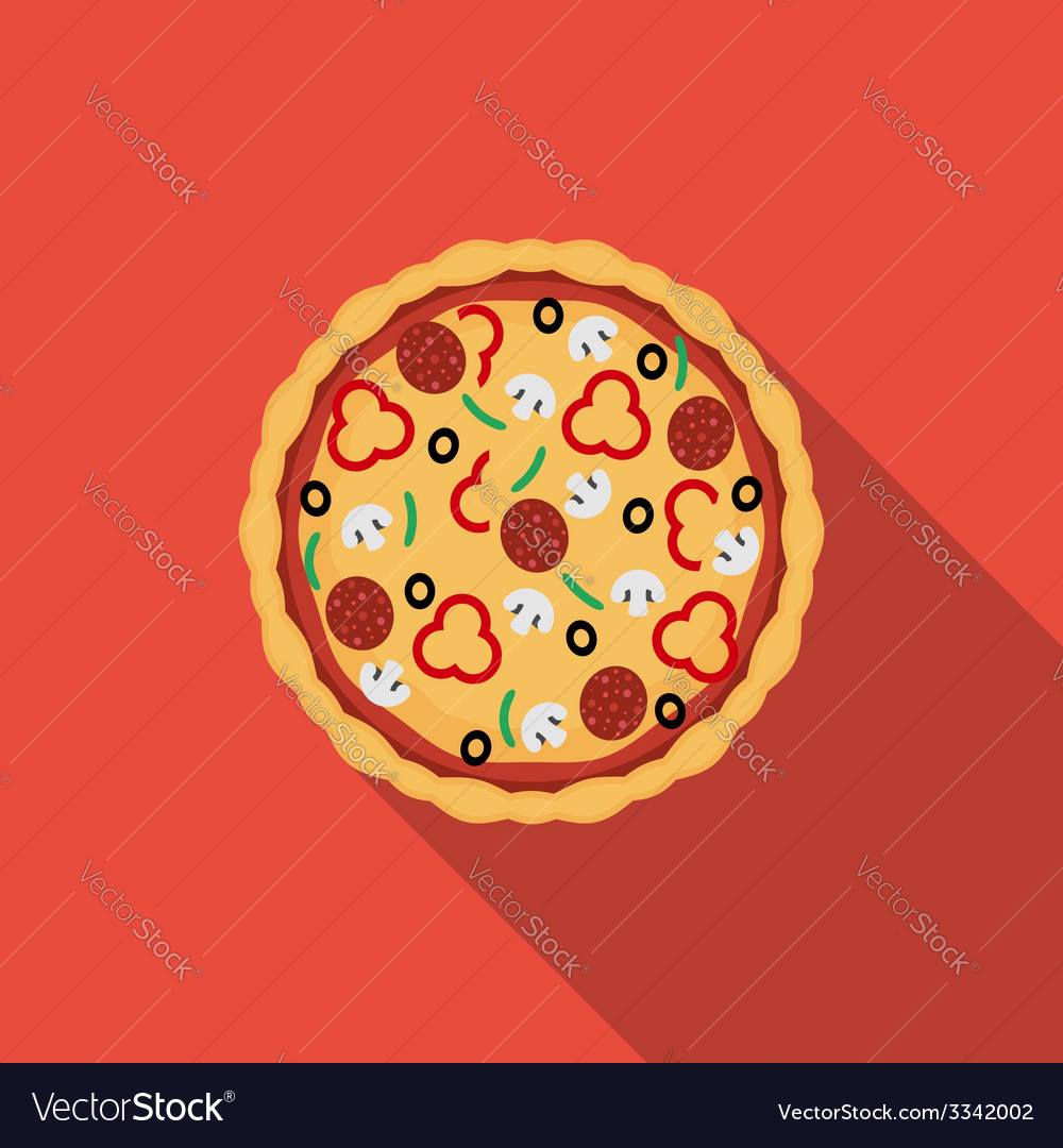 Flat pizza icon with long shadow vector | Price: 1 Credit (USD $1)