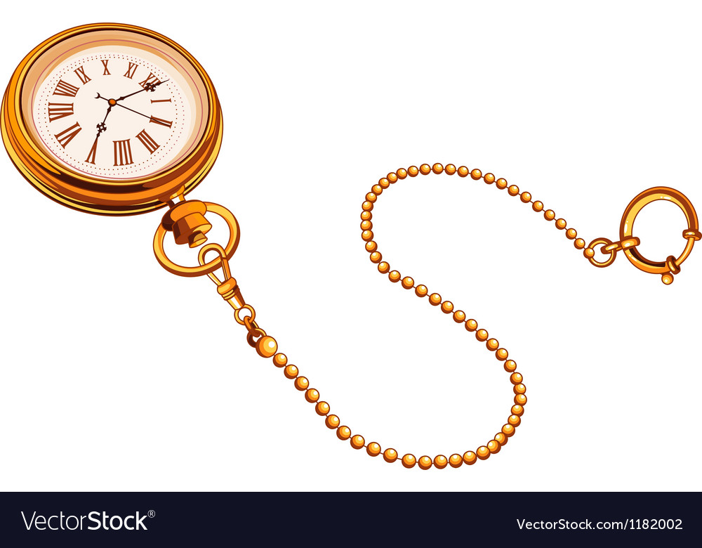 Gold pocket watch vector | Price: 1 Credit (USD $1)