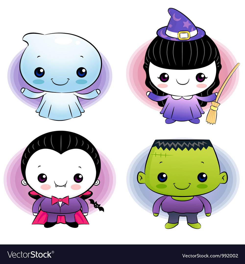 Halloween ghost dressed children vector | Price: 3 Credit (USD $3)